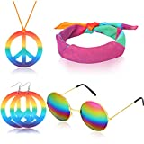 Accesorios de aderezo Hippie de 4 Piezas Juego de Disfraces Hippie de años 60 Incluye anteojos Collar con el Signo de Arcoiris con el símbolo de la Paz, Diadema y aretes con el Signo del Paz