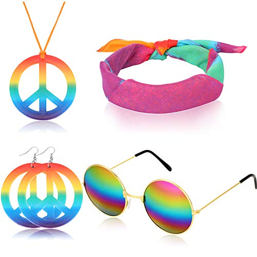 Accesorios de aderezo Hippie de 4 Piezas Juego de Disfraces Hippie de