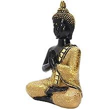 [garantía 1año] de Estatua de Buda dorado pintado a mano en Tailandia exquis Estatua sentado en meditación escultura de Feng Shui artesanía ornamentos para la casa Offfice Décor