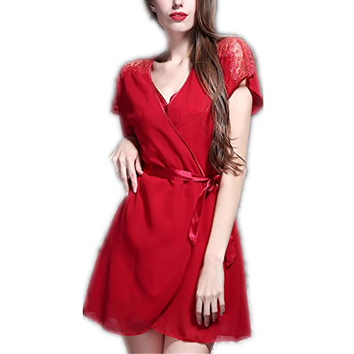 GJX Donna raso seta pigiama Set Pjs seta manica lunga , red , 170 (xl)
