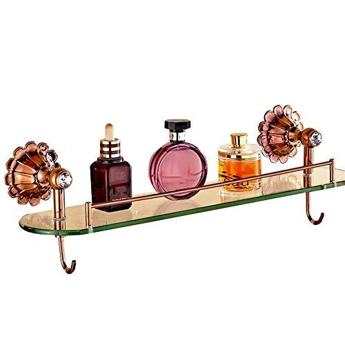 Badezimmer Regal Dusche Veranstalter Wandhalterung Punch Installation europäischen Stil alle Bronze Vakuumüberzug 8mm gehärtetes Glas, 4 Farben (Farbe: Messing) -
