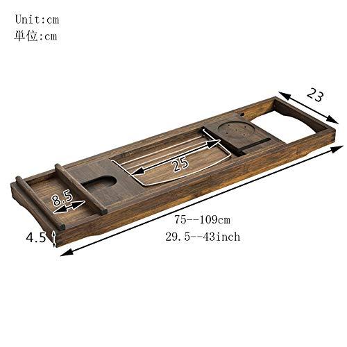 Natürlichen Bamboo Badewanne ablage, Badewanne tisch Mit der erweiterung der seiten Multifunktion Anti-rutsch Lesen Weinregal Tablet-halter Storage Badewannenbretter-braun 75x23x4.5cm(30x9x2inch)