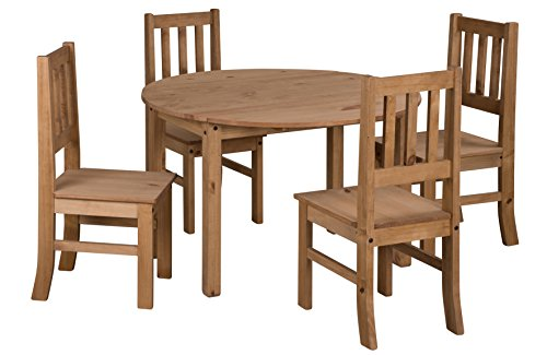 Mercers Furniture Corona Drop Leaf Esstisch und 4 Stühle Holz Antique Wax 115 x 115 x 75 cm -