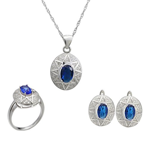 Aooaz Femmess Ensemble de Bijoux, Plaqué Argent Ovale CZ Cristal Bague Pendant Collier Boucles d'Oreilles Mariage Promettre Bleu