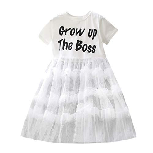 YpingLonk ♥ Mädchen koreanische Version des Flut Brief Kurzarm Nähen Mesh Rock Kuchen Rock Kleinkind Baby Mädchen Kinder Kleidung Kurzarm Brief Kinder Prinzessin Tüll Kleid