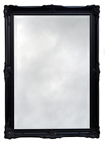 Artesano-Ornate-barroco-espejo-con-marco-Color-Negro