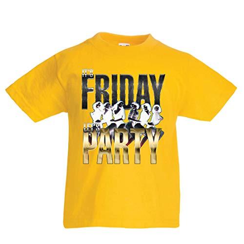 en/Mädchen T-Shirt Es ist Freitag, Lass Uns feiern, 60s 70s 80s Disco, Partykleidung (1-2 Years Gelb Mehrfarben) ()