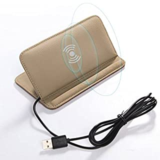 Qi Wireless Charger, 2 in 1 Cowhide Car Holder with Anti-Slip Mat, Car Mount Wireless Charger & Dashboard Cradle Stand for iPhone X / 10/8 Plus / 8, Samsung Galaxy (beige)