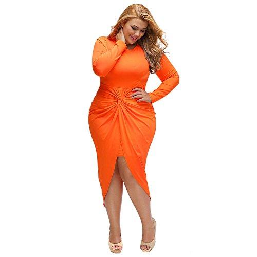 PU&PU Femmes Plus Size Formal / Travail / Parti Slit Mini Dress, col rond manches longues Orange