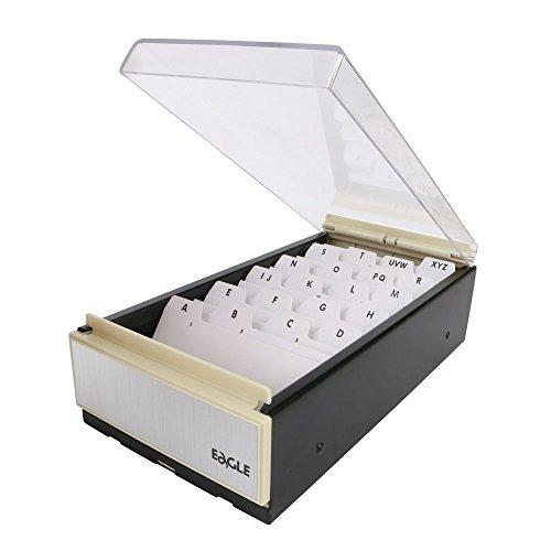 Eagle Visitenkartenhalter, Aufbewahrung für bis zu 600 Karten, Box-Größe: 10,8 x 21,0 x 6,4cm, Metall/Kunststoff schwarz/transparent