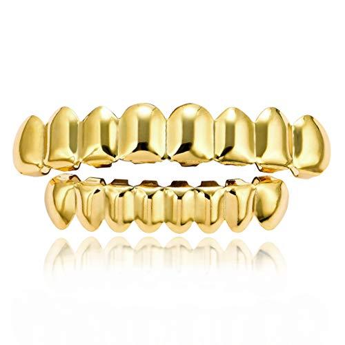 SuaMomente 18 Karat vergoldete ICED-Grills mit Mundschutz für Ihre Zähne 8 Grillz-Sets für Oben und unten für Hip Hop,Gold -