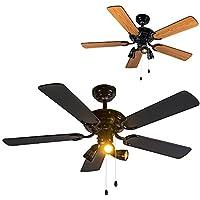 QAZQA Ventilatore da soffitto Mistral 42 - Moderno - Vetro/Poliestere/Metallo, - Nero/Marrone, - Tondo - adatto per LED - GU10 - Max. 3 x 50 Watt