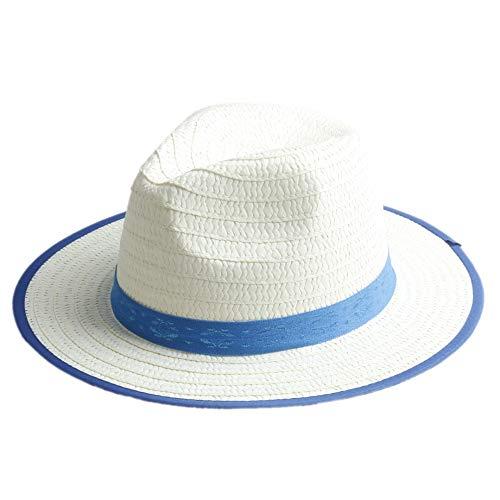 Kind Stroh Sonnenhüte Cap Boy Mädchen Breiter Krempe Sonnenhut Kinder Strand Hut Panama Hut Mit Ribbow Band ()