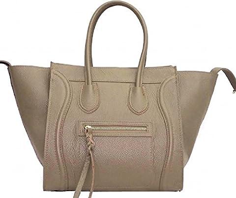 Handbagstore Leder Tasche Tote bag Celine Inspiriert, Handtasche 100% Innenmaterial Leder, Italien Schwarz, Cognac (Taupe)