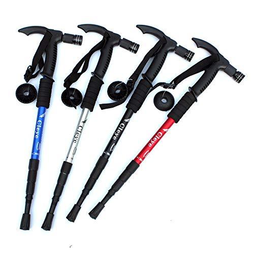 Stick Arktis (Hadeyicar T-Griff-Stick mit Klapplampe Gehstock Gehstock Rutschfeste Gummi-Gehstock Teleskoprohr Wandern Bergsteigen Arktis,Red)
