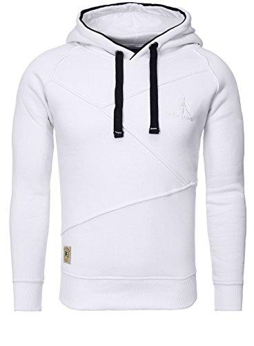 AKITO TANAKA Herren Sweatshirt 18103 Sweater Pullover mit Kapuze Stehkragen slim fit Weiß