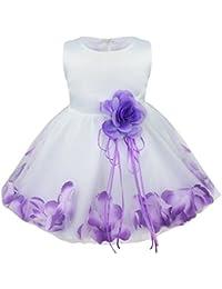 43d6d3e8d MSemis Vestido de Boda Princesa para Bebé Niña 3-24 Meses Cintura con  Flores 3D
