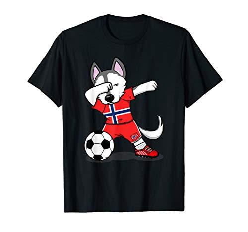 Husky Dabbing Norwegen Fußball 2019 Norwegische Fußball T-Shirt (Norwegen Fußball Trikot)