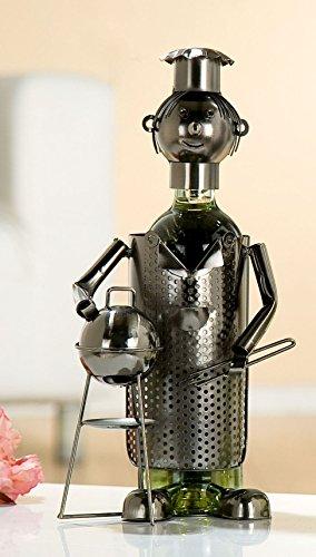 GILDE Flaschenhalter Grillmeister aus lackiertem Metall, 15x16x34 cm