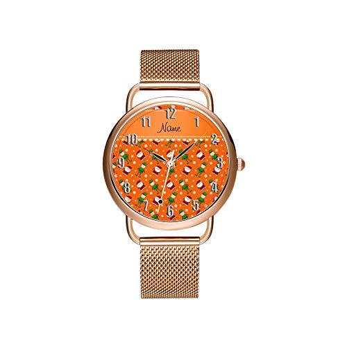 amen Mesh Gürtel ultradünne Uhr wasserdichte Uhr Quarzuhr Weihnachten Benutzerdefinierten Namen Orange Santa Elves Schneeflocken Armbanduhr ()
