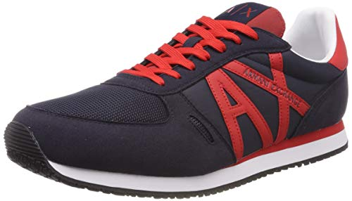 Armani Exchange Herren Lace Up with Logo Sneaker, Blau (Navy+ Red D127), 45 EU