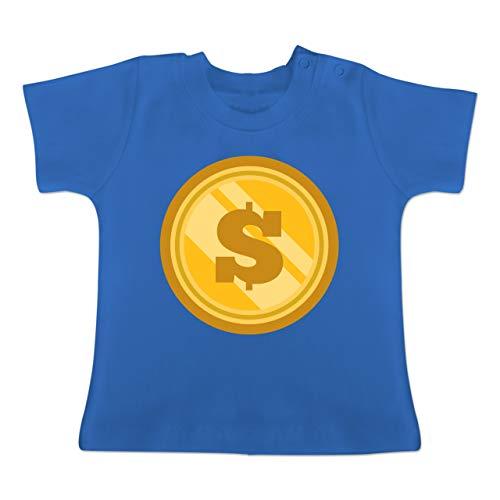 Münze Für Kostüm - Karneval und Fasching Baby - Münze Kostüm - 1-3 Monate - Royalblau - BZ02 - Baby T-Shirt Kurzarm