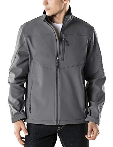 Tesla Herren Softshell Athletic Microfleece Active Windabweiser Mantel Full Zip Outdoor Wasserdichte Jacke YKJ80, Jungen Damen Mädchen Herren, A-YKJ80-GRY, Medium