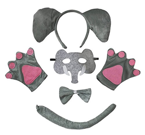 Petitebelle Stirnband Bowtie Schwanz Handschuhe Maske 5pc Kostüm Einheitsgröße Elefant