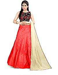Shree Rang Creation Women's Red Taffeta Silk Designer Lehenga Choli(AFL-26_Red_Free Size)