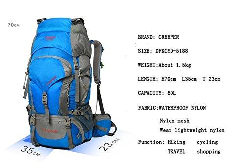 60L Rucksäcke für Männer und Frauen Mountaineering Tasche Wasserdichte Nylon-Taschen Blue