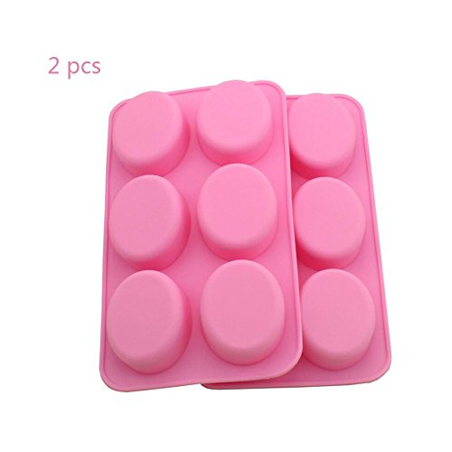2 Pack 6-Oval Silicone Mold Oval Soap Mould Chocolate Muffin Cupcake Backing Pan