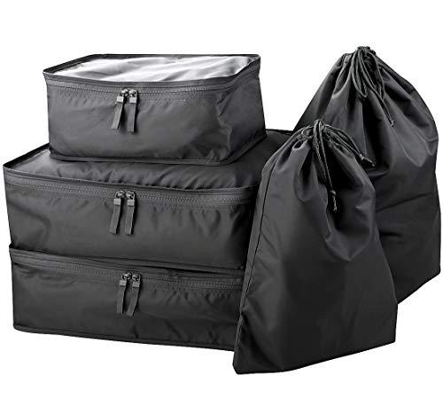 5-stück Gepäck (5 Stück Koffer Gepäck Kleidungsstück Aufbewahrungstasche, Reise Koffer Organizer Set, Reise Packing Cubes Set, Schwarz)