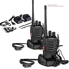 Idea Regalo - OCDAY Walkie Talkie Ricetrasmittente, Walkie Talkie BAOFENG BF-888S 16 Canali Walkie Talkie FM VHF/UHF 400-470MHz 5W con Ricevitore Radio Bidirezionale Handheld Portatile Dual con Auricolare (2pcs)