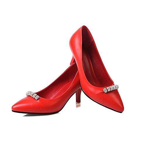 Lemon&T Style de printemps haut de gamme PU Matériel supérieur Vintage Rhinestone Women Pointé-toe antidérapante en caoutchouc Sole 6CM Chaussures Talons red