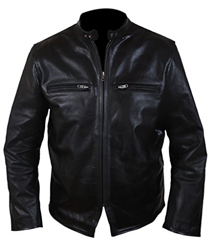 F&H Men's Burnt Bradley Cooper Crunch Cowhide Genuine Leather Jacket