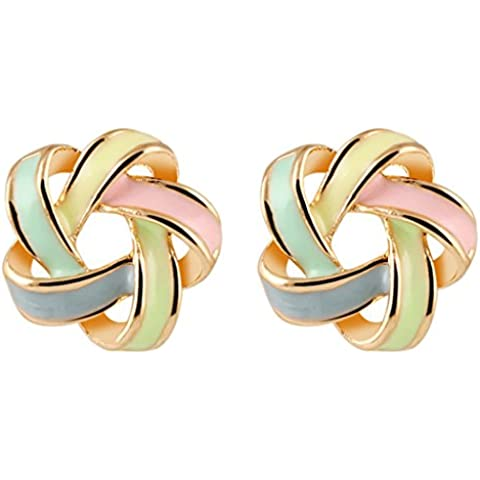 Duo la moda Distorsión espiral barra de color Lady Charm all-match pendientes