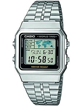 Casio Collection – Unisex-Armbanduhr mit Digital-Display und Edelstahlarmband – A500WEA-1EF