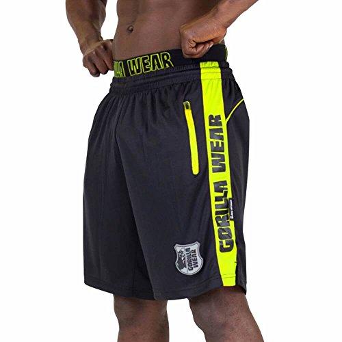 Gorilla Wear Shelby Shorts - Black/Neon Lime - schwarz/neon limette - Bodybuilding und Fitness Short für Herren Schwarz/Gelb