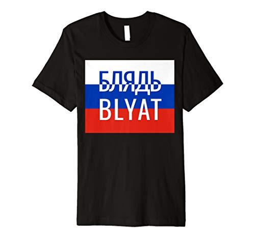 BLYAT russisches Meme Fun T-Shirt mit Russland Flagge