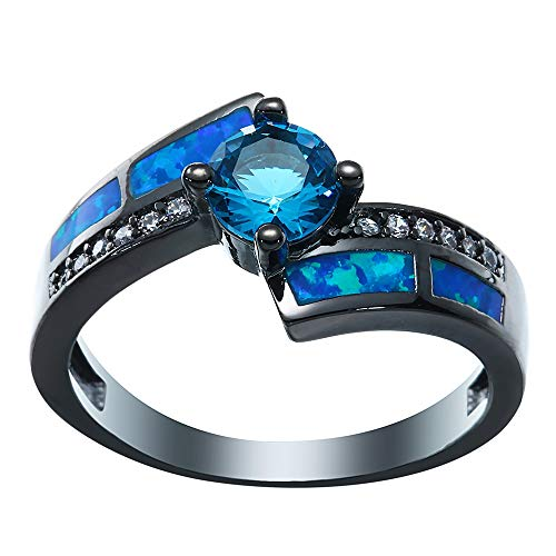 Bigood Women Irregular Cubic Zirconia Stone 18K Stainless Steel Rings Blue 9