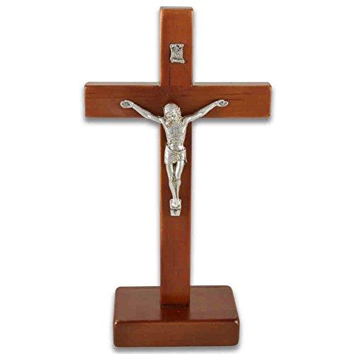 Stehkreuz Standkreuz Altarkreuz Erlenholz dunkel lackiert mit Metallkorpus 21 x 11 cm Kruzifix mit Fuß Trauerkreuz