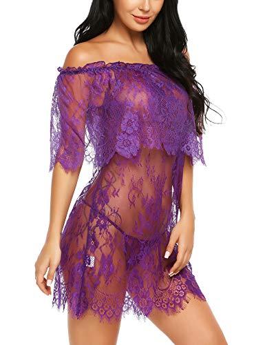in Unterwäsche damen sexy babydoll kleid Aus Schulter Babydoll Spitze Kittel Chemises Mesh Transparentes Kleid Zwei Tragen Styles, Violett, Large ()