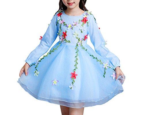Principessa da sposa vestito bambina vestito ragazza elegante fiore abiti cerimonia azzurro chiaro 110cm