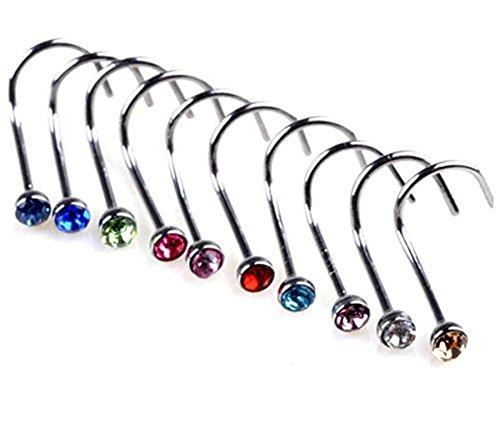 Cdet Nasenstecker Nose Ring Nasen piercing Edelstahl Imitation Diamant 20 Farben (30 Stück)