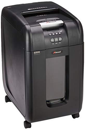 Rexel Auto 300X Destructeur de Documents Automatique Coupe Croisée, 300 Feuilles, Pour Petits Bureaux (Jusqu'à 10 Utilisateurs), Corbeille Amovible 40L, Noir, Auto+ 300X, 2103250EU
