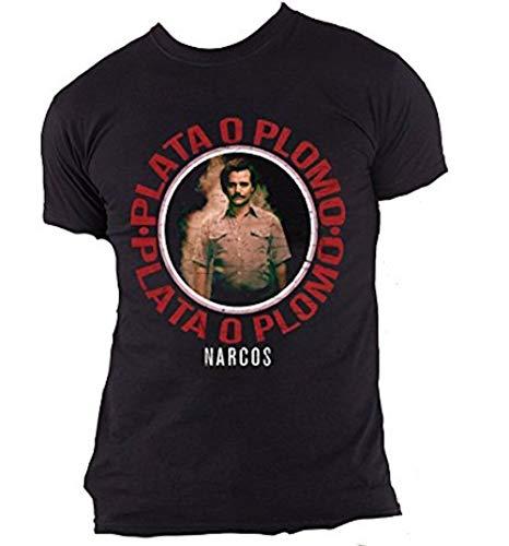 Official Narcos - Plateado O Plomo - Camiseta Oficial Hombre - Negro, Medium