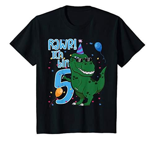 Kinder Ich Bin Fünf 5 Jahre T-Rex Fünfter 5. Geburtstag Dinosaurier T-Shirt
