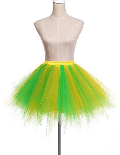 Dresstells Damen Tutu Unterkleid Kurz Ballett Tanzkleid Ballklei Abendkleid Gelegenheit Zubehör Green Yellow