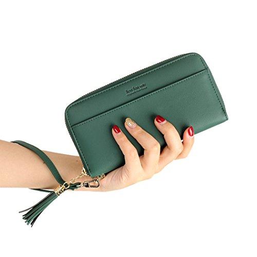 Damen Geldbörse Reißenverschluss Kunstleder Geldbeutel für Frauen Portemonnaie lang Portmonee groß Brieftasche Damengeldbeutel Damengeldbörse mit abnehmbare Handgelenkriemen Dunklegrün