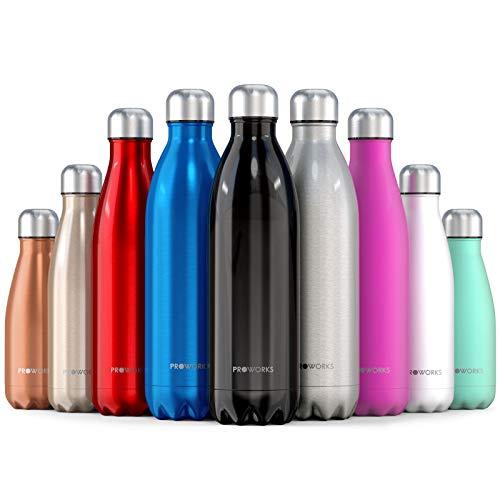 Proworks Edelstahl Trinkflasche   24 Std. Kalt und 12 Std. Heiß - Premium Vakuum Wasserflasche - Perfekte Isolierflasche für Sport, Laufen, Fahrrad, Yoga, Wandern und Camping - 1 Liter - Schwarz